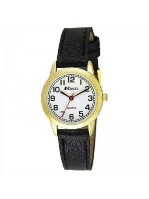 Wholesale Ravel Ladies Classic Faux Leather Strap Watch - Black/Gold