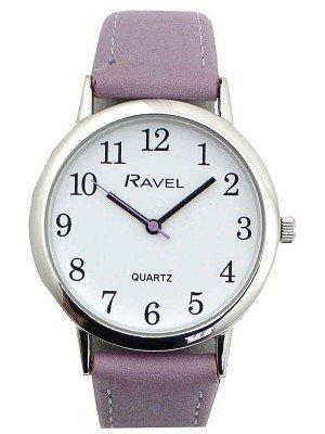 Wholesale Ravel Ladies Classic Faux Leather Strap Watch-Purple/Silver
