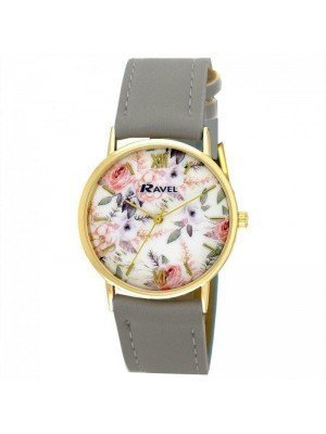 Wholesale Ravel Ladies Classic Floral Print Dial Leather Strap Watch - Grey