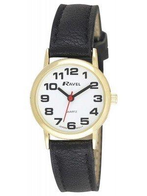 Wholesale Ravel Ladies Classic Leather Watch Strap - Black & Gold