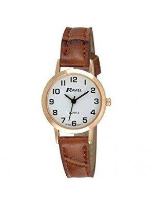 Ravel Ladies Classic Strap Watch - Brown & Rose Gold