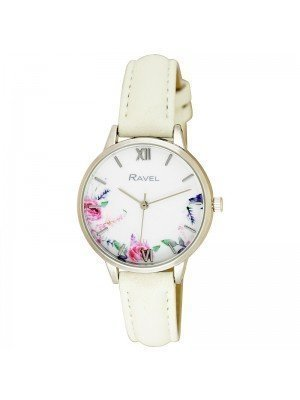 Wholesale Ravel Ladies Cottage Garden Blossom Dial Leather Strap Watch - White