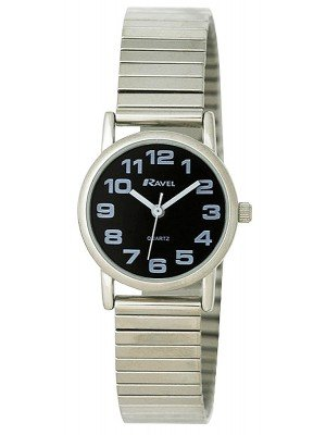Wholesale Ravel Ladies Expander Bracelet Watch - Silver & Black