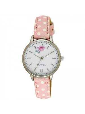 Wholesale Ravel Ladies Floral Polka Dot Leather Strap Watch - Blush Pink