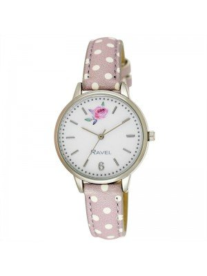 Wholesale Ravel Ladies Floral Polka Dot Leather Strap Watch - Pebble Grey