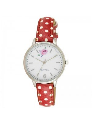 Wholesale Ravel Ladies Floral Polka Dot Leather Strap Watch - Rosy Red