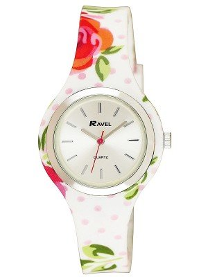 Wholesale Ravel Ladies Floral Print Silicone Strap Watch - White/Pink
