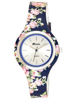 Wholesale Ravel Ladies Floral Print Silicone Strap Watch - Blue/Pink