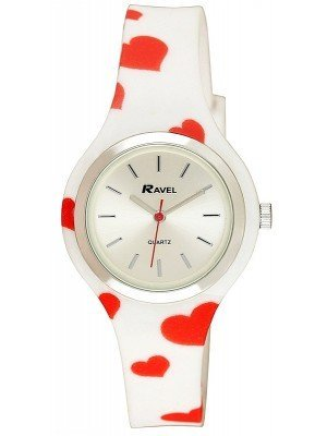 Wholesale Ravel Ladies Heart Print Silicone Strap Watch - White/Red