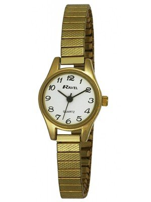 Wholesale Ravel Ladies Polished Petite Round Watch - Gold/White