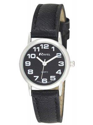Wholesale Ravel Ladies Round Polished Watch - Black & Silver