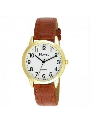 Wholesale Ravel Mens Classic Faux Leather Strap Watch - Brown & Gold