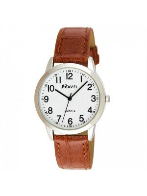 Wholesale Ravel Mens Classic Faux Leather Strap Watch - Brown & Silver
