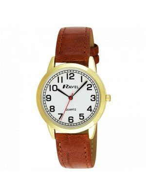 Wholesale Ravel Mens Classic Polished Round Leather Strap Watch - Brown & Gold
