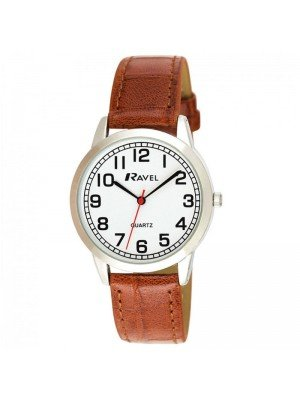 Wholesale Ravel Mens Classic Polished Round Leather Strap Watch - Brown & Silver