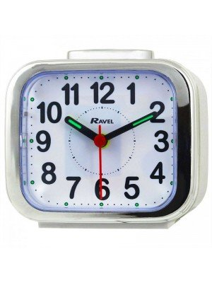 Wholesale Ravel Quartz Chrome Edged Alarm Clock - White