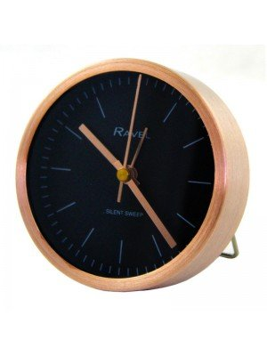 Wholesale Ravel Quartz Metal Minimal Round Alarm Clock - Rose Gold/Black