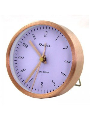 Wholesale Ravel Quartz Metal Round Table Alarm Clock - Rose Gold