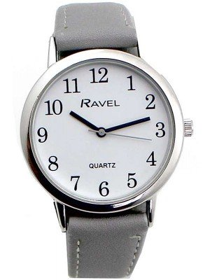 Wholesale Ravel Ladies Classic Faux Leather Strap Watch-Grey/Silver