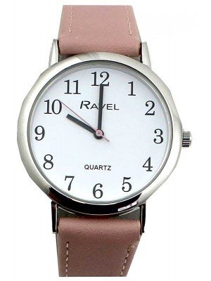 Wholesale Ravel Ladies Classic Faux Leather Strap Watch-pink/silver