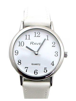 Wholesale Ravel Ladies Classic Faux Leather Strap Watch-White/Silver
