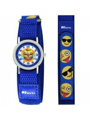 Wholesale Ravel Unisex Velcro Emoji Watch - Blue