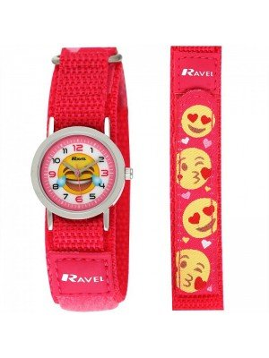 Wholesale Ravel Unisex Velcro Emoji Watch - Pink