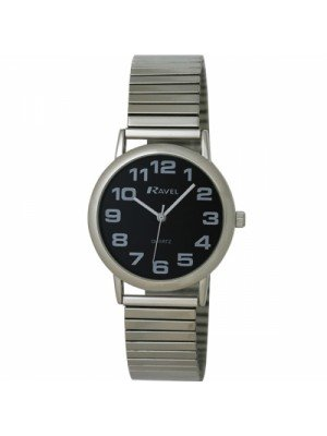 Ravel Mens Polished Round Watch - Silver and Black