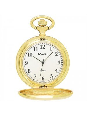 Ravel Design Polished Pocket Watch - Gold