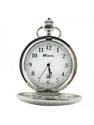 Ravel Design Polished Pocket Watch with Date Display - Silver