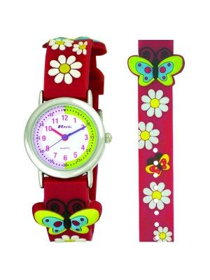 Ravel Girls Butterfly Design Time Teacher Watch - Pink