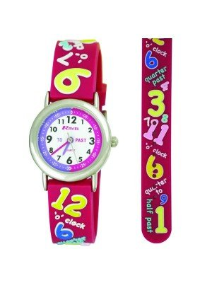 Ravel Girls Numbers Time Teach Watch - Pink