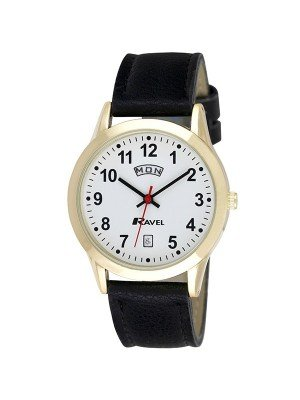 Ravel Men's Watch with Leather Strap Date Display - Black & Gold