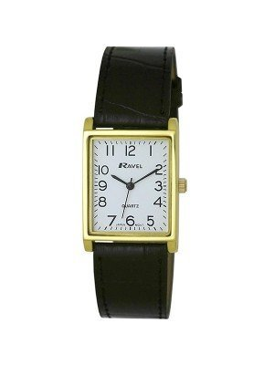 Ravel Mens Classic Cracked Leather Strap Watch - Black & Gold