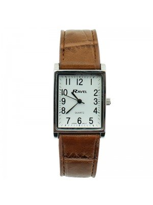 Ravel Mens Classic Cracked Leather Strap Watch - Brown & Silver