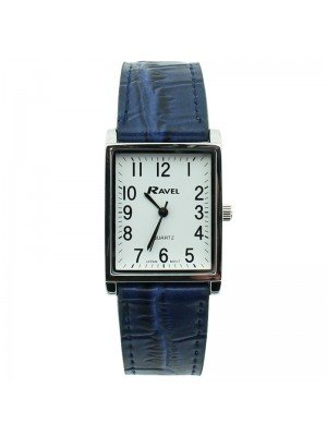 Ravel Mens Classic Cracked Leather Strap Watch - Silver & Blue