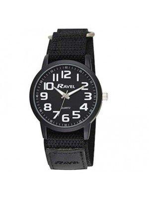Ravel Mens Classic Dial Velcro Watch Strap - Black