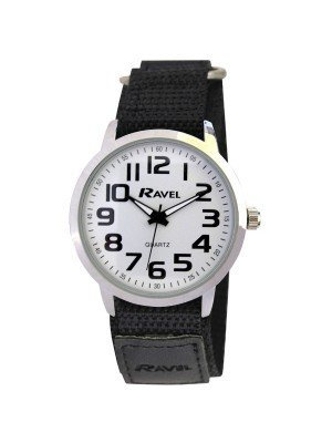 Ravel Mens Classic Dial Velcro Watch Strap - Black & Silver