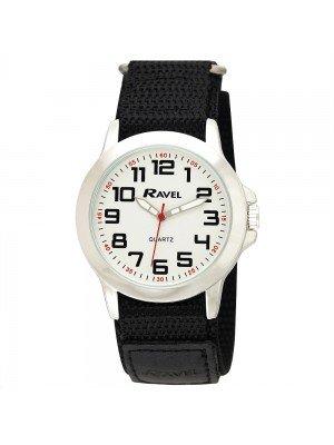 Ravel Mens Classic Dial Velcro Watch Strap - Black & Silver