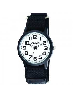 Ravel Mens Classic Dial Velcro Watch Strap - Black & White