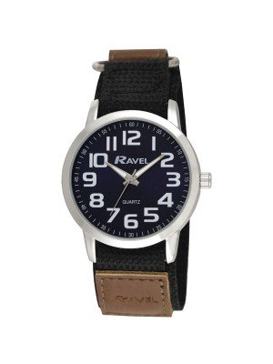 Ravel Mens Classic Dial Velcro Watch Strap - Brown & Silver