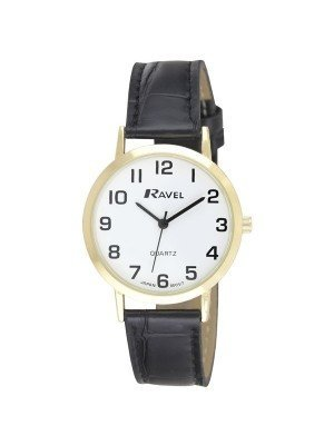 Ravel Mens Classic Round Watch with Leather Watch Strap - Gold & Black