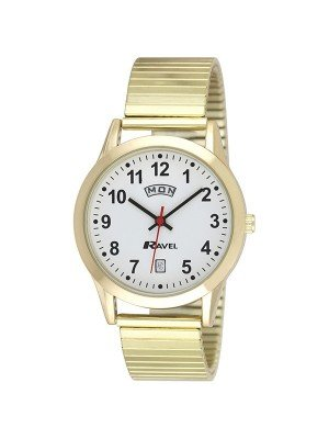 Ravel Mens Gold Expander Watch with Day Date