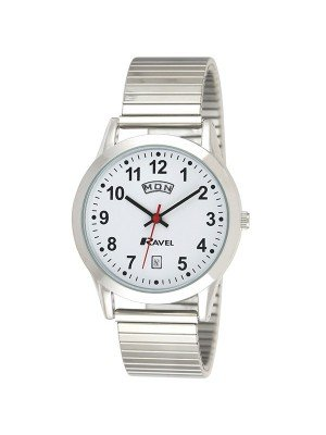 Ravel Mens Silver Expander Watch With Day date