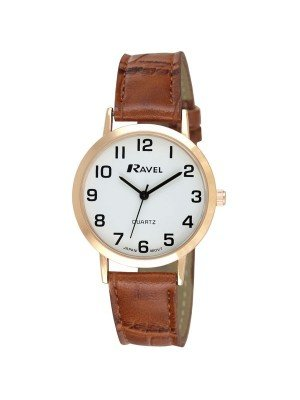Ravel Mens Watch with Cracked Leather Watch Strap - Rose Gold & Brown
