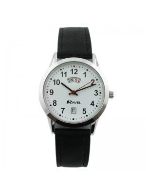 Ravel Mens Watch with Leather Watch Strap - Silver & White