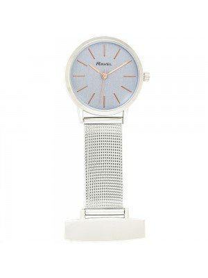 Ravel Nurses Fob Watch - Silver & Rose Gold