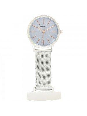 Ravel Nurses Fob Watch - Silver & Rose Gold