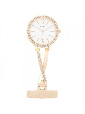 Ravel Nurses Fob Watch with Diamante - Rose Gold