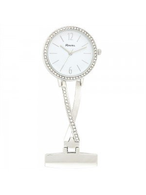 Ravel Nurses Fob Watch with Diamante - Silver & White
